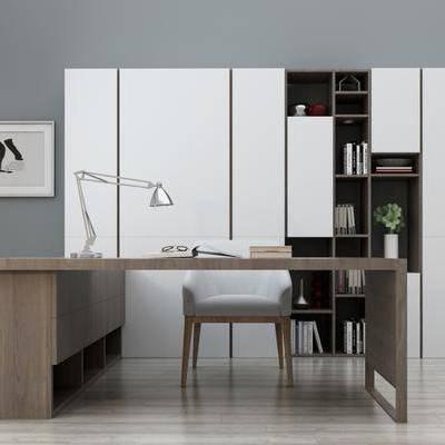 桌椅组合, 现代, 现代书桌, 椅子, 单椅, 书柜, 书籍, 书本, 摆件, 台灯