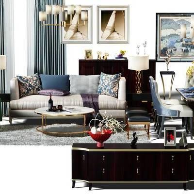 沙发组, 沙发茶几组合, 窗帘, 电视柜, 餐桌, 餐桌椅组合, 桌椅组合, 桌椅, 画, 装饰画, 挂画, 组合画, 现代