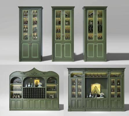 酒柜, 欧式, 装饰柜