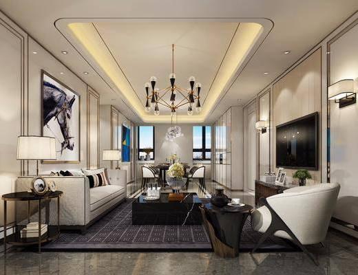 后现代客厅, 现代吊灯, 沙发, 茶几, 壁灯, 装饰画, 台灯