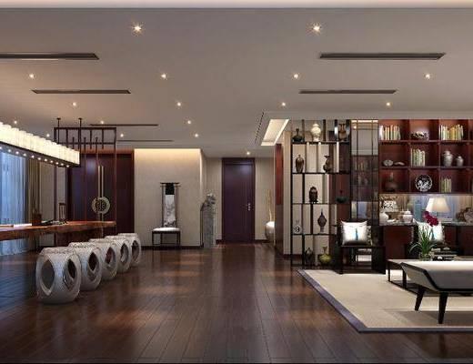 茶馆, 多人沙发, 边几, 台灯, 躺椅, 茶几, 单人沙发, 装饰柜, 装饰品, 陈设品, 凳子, 单人椅, 吊灯, 装饰架, 新中式