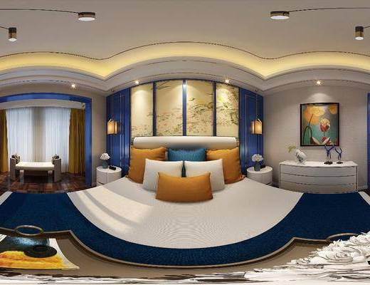 卧室, 床, 新中式, 边柜, 装饰品, 陈设品, 摆件, 中式
