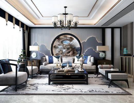 新中式, 客厅, 沙发组合, 电视柜