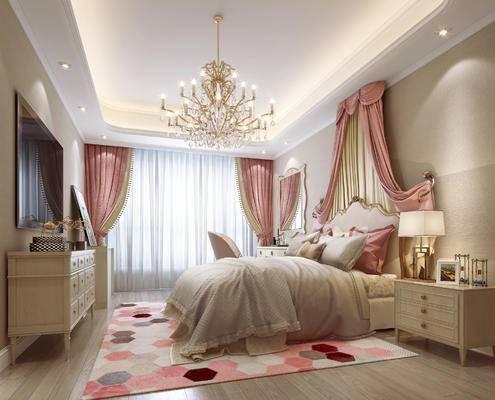 简欧卧室, 简欧, 欧式床, 欧式床头柜, 床帘, 欧式吊灯