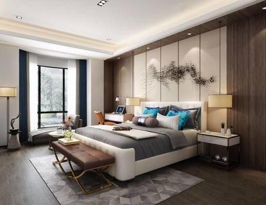 新中式, 卧室, 床具组合, 脚踏, 陈设品组合