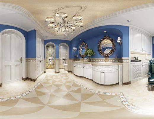 卫生间, 家装全景, 装饰镜, 洗手台, 马桶, 单人沙发, 吊灯, 欧式