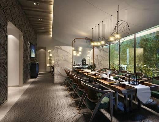 餐厅, 茶室, 中式吊灯, 餐桌椅, 桌椅组合, 餐具