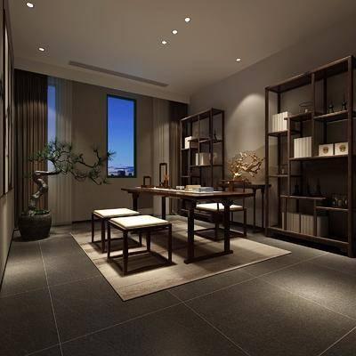 书房, 装饰架, 书桌, 单人椅, 摆件, 装饰品, 陈设品, 盆栽, 绿植, 植物, 新中式