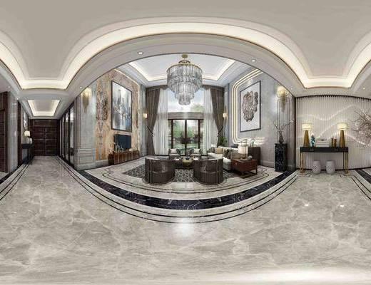 别墅, 别墅客厅, 新中式客厅, 沙发组合, 中式沙发