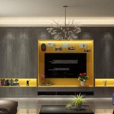 客厅, 后现代, 现代, 电视柜, 电视墙, 单人沙发, 休闲沙发, 茶几