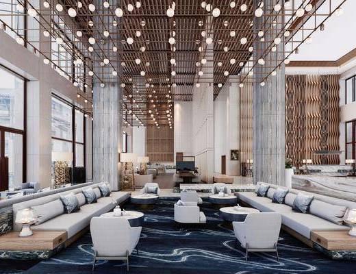多人沙發, 會所前臺, 單人沙發, 邊幾, 臺燈, 落地燈, 吊燈, 現代