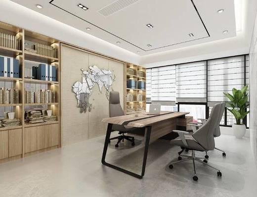 办公室, 办公桌, 吊灯, 书柜, 现代, 装饰柜, 办公椅