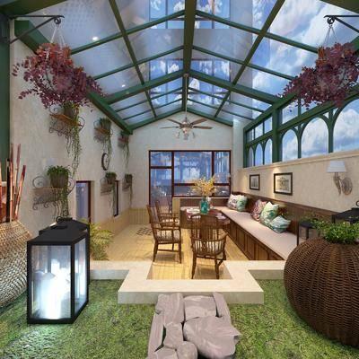 花房, 花园庭院, 桌椅组合, 草地, 绿植植物, 餐桌椅组合, 现代