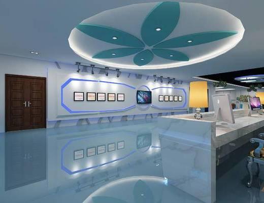 现代科技中心, 前台, 接待台, 荣誉墙, 奖状, 台灯, 沙发, 桌椅组合