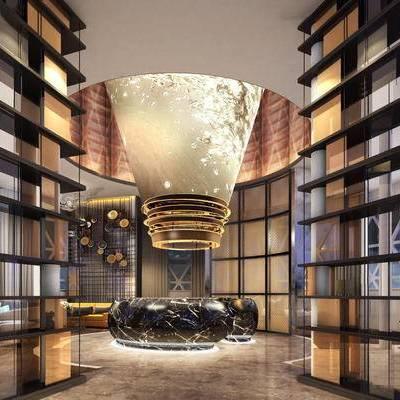 现代大堂, 桌椅, 吊灯, 1000套空间酷赠送模型, 下得乐3888套模型合辑