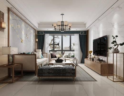 中式客厅, 客厅, 中式沙发, 电视柜, 茶几, 中式吊灯, 壁灯