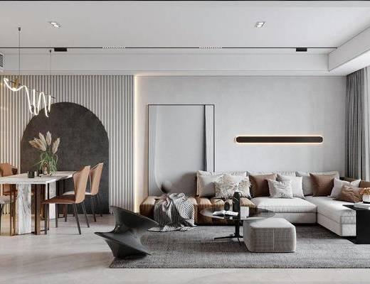 现代客餐厅, 沙发, 茶几, 吊灯, 餐桌椅, 摆件