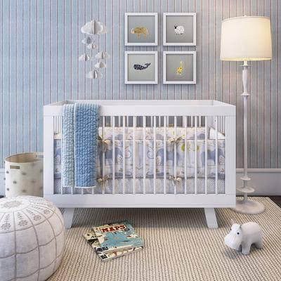嬰兒床, 裝飾畫, 落地燈, 現代