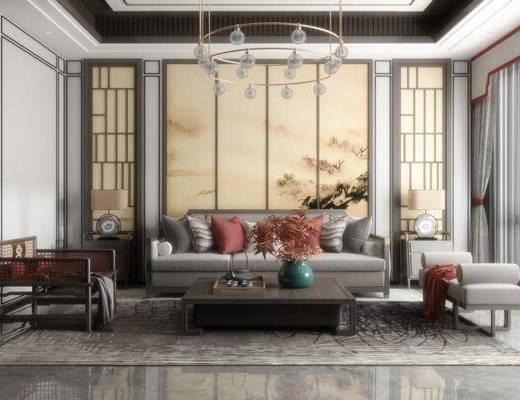 新中式, 多人沙发, 茶几, 休闲椅, 沙发凳, 吊灯, 边几