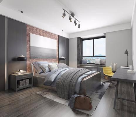 卧室, 床具组合, 双人床, 吊灯, 床头柜, 手提包, 书桌, 单椅, 工业风卧室, 工业风