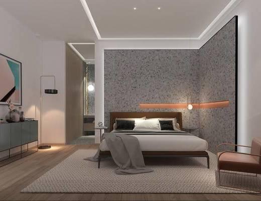 酒店客房, 单人床, 边柜, 装饰画, 摆件组合, 落地灯