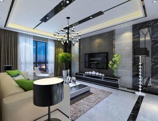 现代, 客厅, 沙发, 影视墙, 电视柜, 盆栽, 台灯, 吊灯