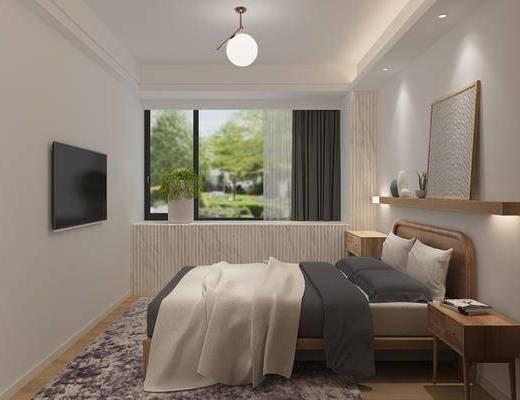 卧室, 双人床, 装饰画, 挂画, 床头柜, 吊灯, 现代简约