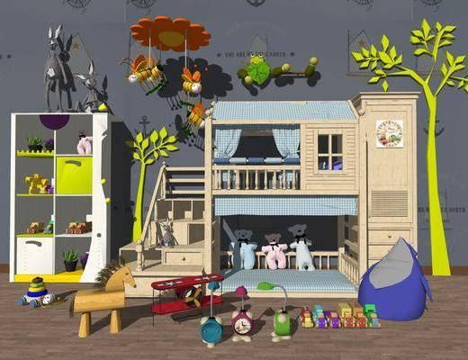 单人床, 玩具, 置物柜