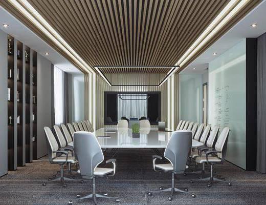 会议室, 会议桌, 会议椅, 单人椅, 吊灯组合, 现代