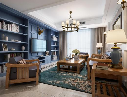 美式客厅, 客厅, 吊灯, 沙发组合, 沙发茶几组合