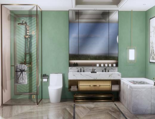 卫浴, 浴柜, 马桶, 壁镜
