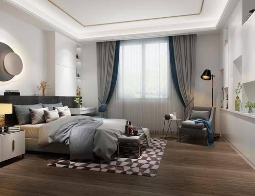 现代卧室, 现代床具, 现代墙饰, 现代台灯, 床头柜, 椅子, 落地灯, 边几, 桌子, 置物柜, 摆件