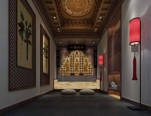 中式佛堂, 墙饰, 灯笼, 佛, 垫子, 中式