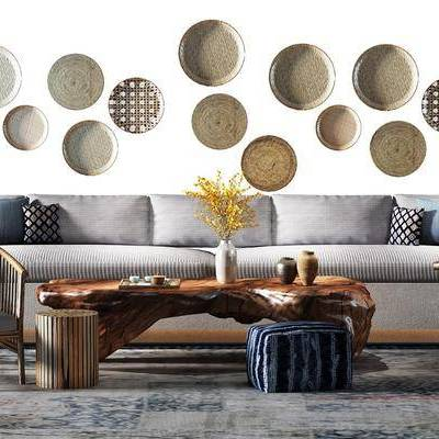 多人沙发, 单人椅, 单人沙发, 茶几, 摆件, 装饰品, 新中式
