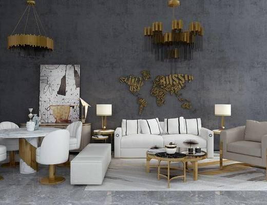 现代, 沙发, 茶几, 餐桌椅, 墙饰, 装饰画, 灯具
