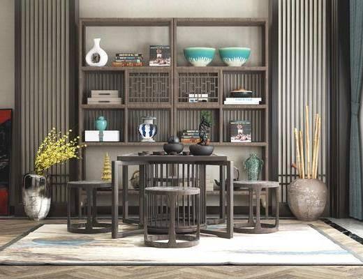 茶桌, 茶臺, 博古架, 茶具組合