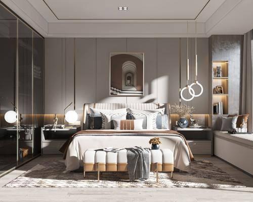 双人床, 衣柜, 吊灯, 挂画, 床头柜, 台灯
