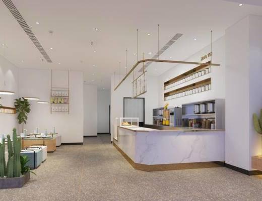 现代奶茶店, 奶茶店, 饮品店, 桌子, 椅子, 吧台, 吊灯, 现代吊灯