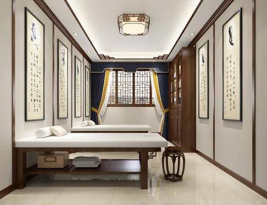 沙发组合, 单人床, 单椅, 窗帘, 装饰画