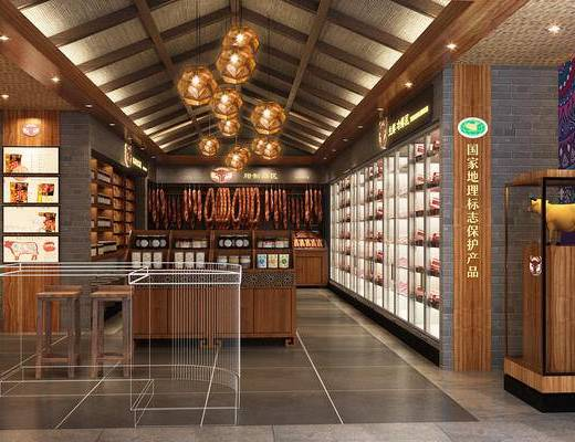 新中式, 土特产, 展柜, 组合