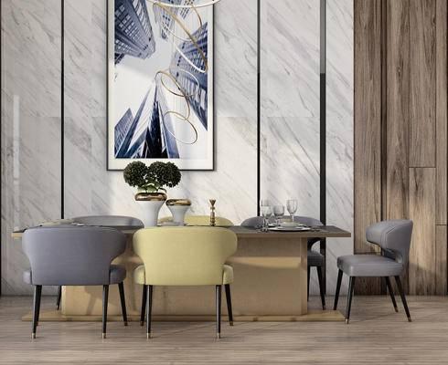 桌椅组合, 餐桌椅, 装饰画, 椅子, 盆栽, 餐具, 现代