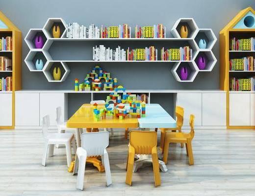娱乐室, 桌子, 单人椅, 凳子, 书柜, 装饰柜, 书籍, 玩具, 现代