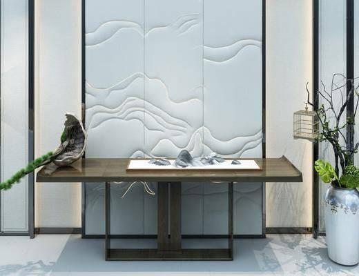 玄关柜组合, 玄关走廊, 案几, 花瓶, 绿植植物, 端景台, 摆件, 装饰品, 陈设品, 新中式