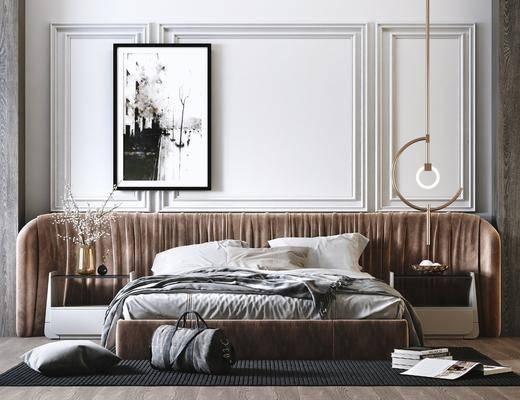 双人床, 装饰画, 吊灯, 床具组合, 床头柜