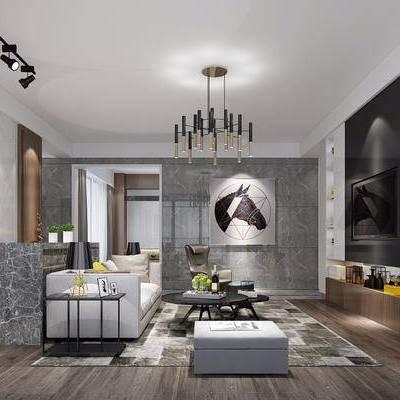 后现代客厅吧台组合, 后现代客厅, 客厅, 沙发, 现代吊灯