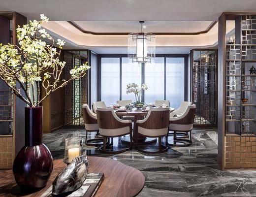 餐厅, 桌椅组合, 餐桌, 餐椅, 单人椅, 餐具, 吊灯, 花瓶, 绿植植物, 摆件, 装饰品, 陈设品, 新中式
