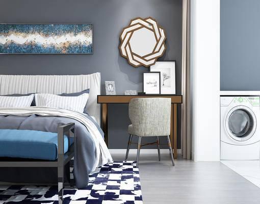 现代卧室, 现代, 床, 布艺床, 脚踏, 洗衣机, 椅子