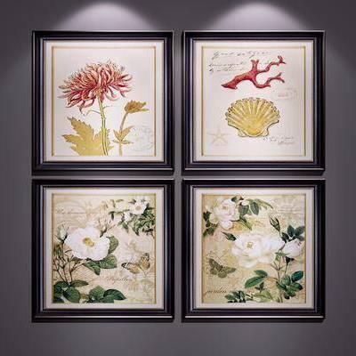 装饰画, 挂画, 植物画, 现代, 美式