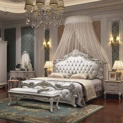 卧室, 双人床, 床尾凳, 床头柜, 台灯, 壁灯, 化妆台, 装饰镜, 吊灯, 凳子, 欧式