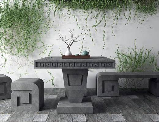 石桌, 桌椅组合, 植物